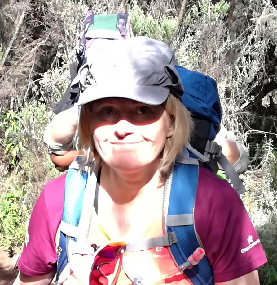 Steinunn climbing Kilimanjaro